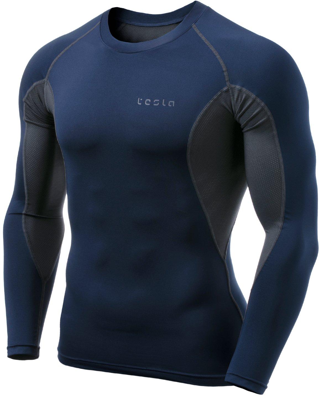 (テスラ)TESLA オールシーズン 長袖 ラウンドネック スポーツシャツ [UVカット吸汗速乾] コンプレッションウェア パワーストレッチ アンダーウェア R11 / MUD01 / MUD11 B0799FH9BQ 2X-Large|TM-MUD71-NVH TM-MUD71-NVH 2X-Large
