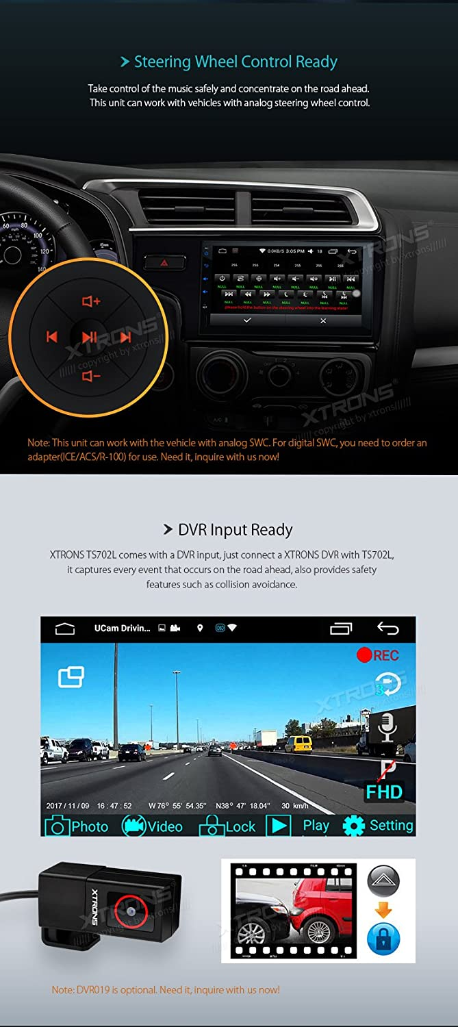 XTRONS 7 Inch Android 6.0 Double 2 Din Quad-Core Car Stereo Radio Player with HD Capacitive Touch Screen Support GPS Wifi OBD2 Screen Mirroring Function Reversing Camera Included TS702L+CAM005