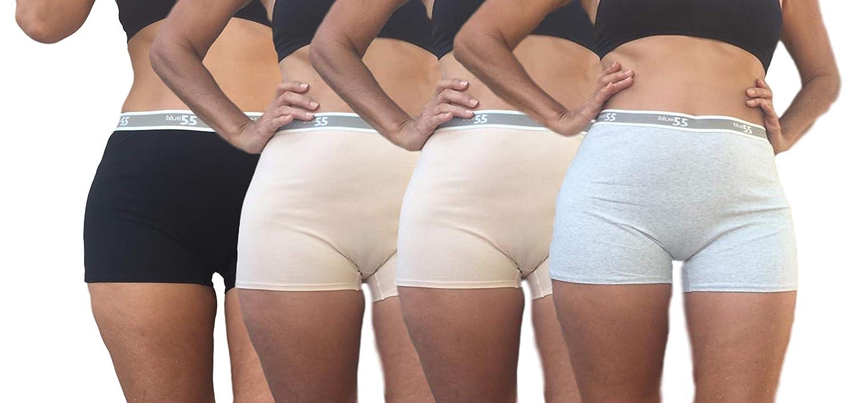 Blue 55 Womens Plus Size Cotton Spandex Boyshorts Underwear Brief Panties Boxers