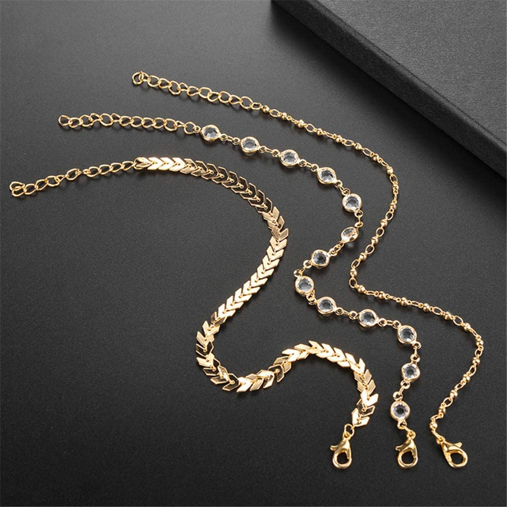 MOONQING Simple Style Multi-Layered Anklet Fish Bone Chain Retro Elegant Style Anklet