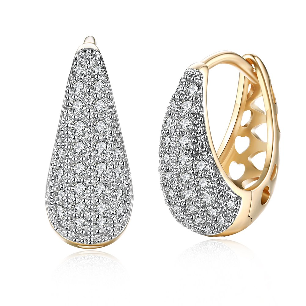 Yellow Chimes Crystals from Swarovski Classic Designer Gold Plated Stylish Hoop Earrings for Women and Girls product image