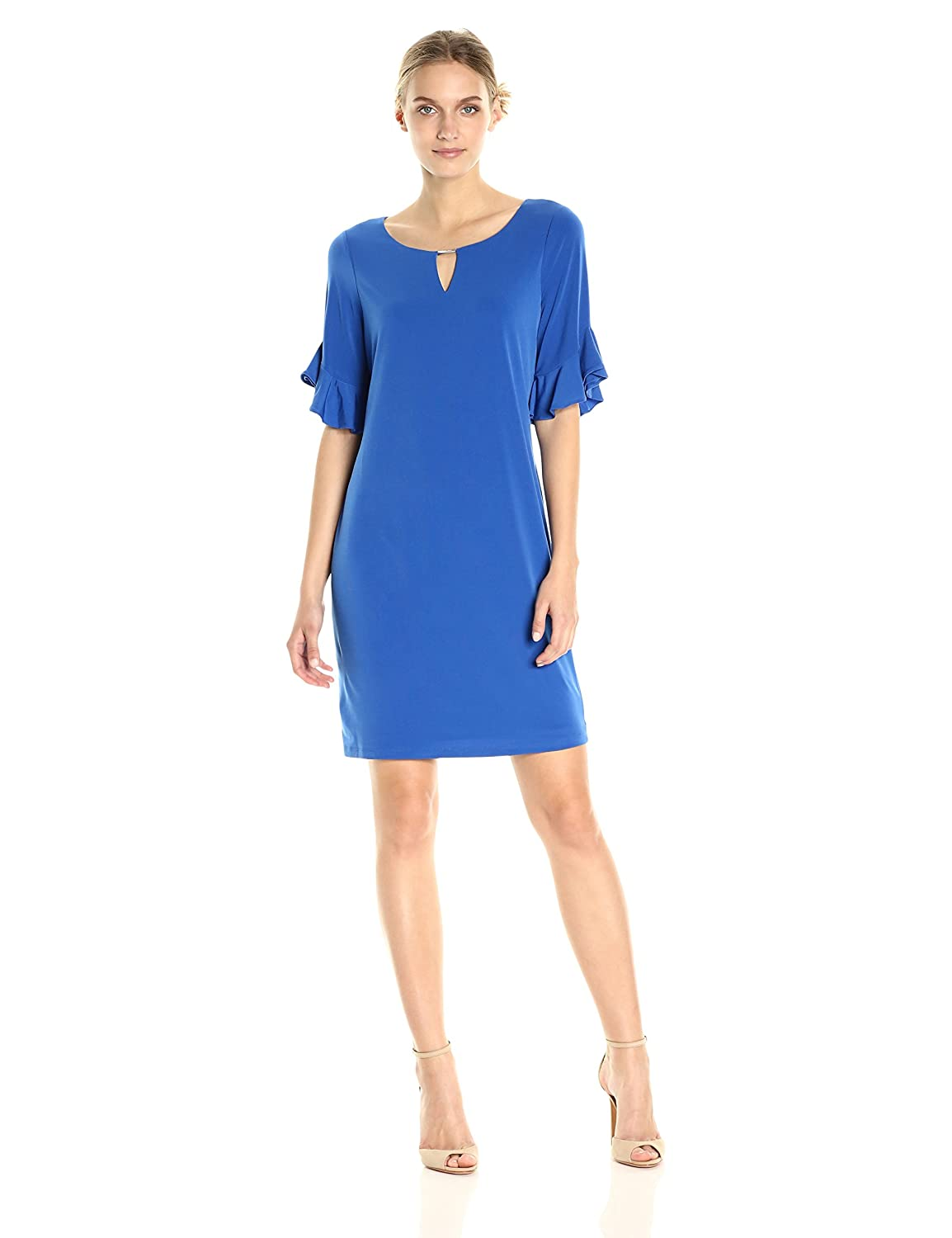 a583aae6 Calvin Klein Women's Ruffle Sleeve Dress with Hardware at Amazon ...