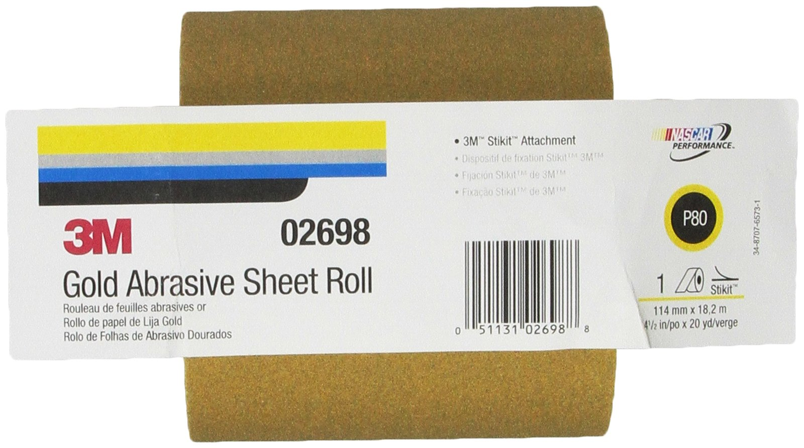 3M 02698 Stikit Gold 4-1/2'' x 20 Yard P80A Grit 216U Paper Sheet Roll by 3M (Image #3)