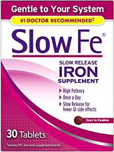 Slow Fe Iron Supplement Tablets for Iron Deficiency, Slow Release, High Potency, 30 count