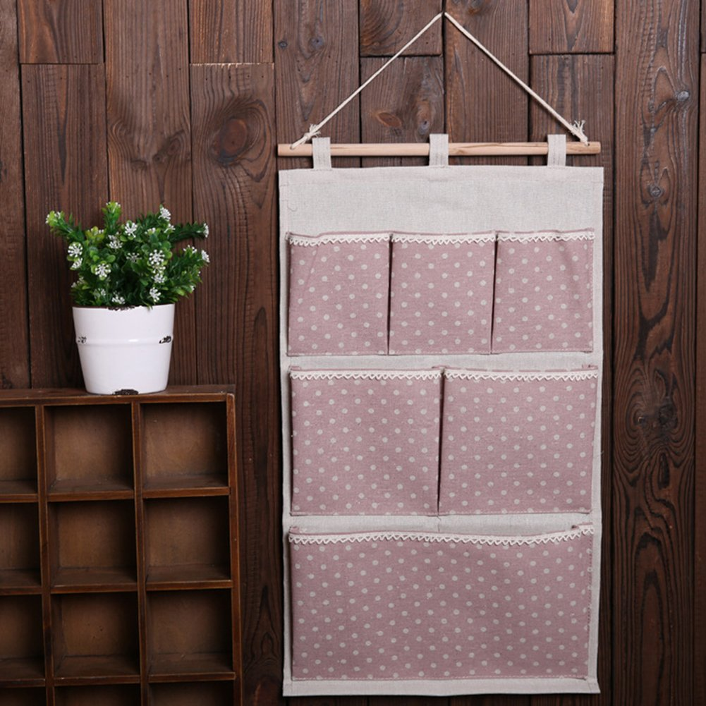 Highdas White Polka Dots Cotton Fabric Wall Door Cloth Hanging Storage Bag Case 6 Pocket Hanging bag Space Saver Gift Brown