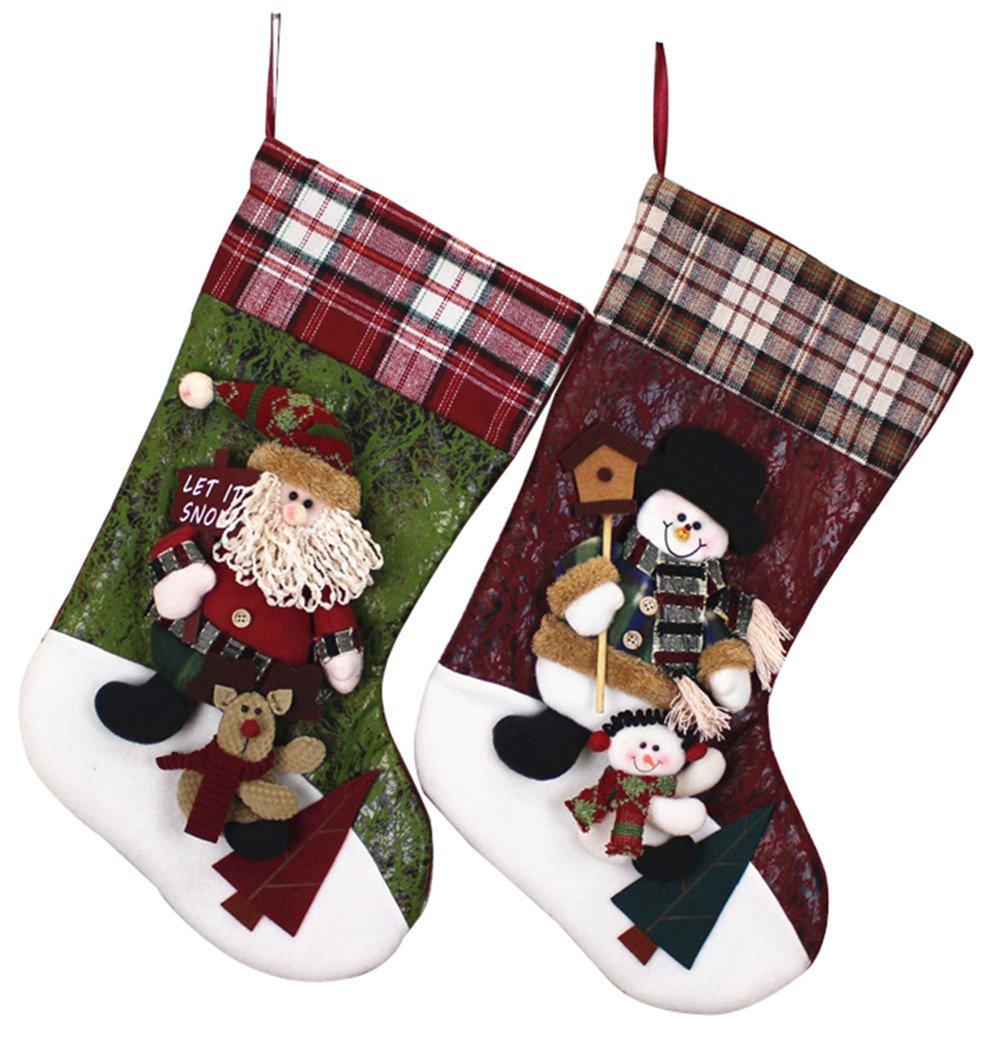 YAMUDA 2 Pcs Set XMAS 3D Lively Christmas Stockings 17.8 Inches Long Santa Claus and Snowman Design