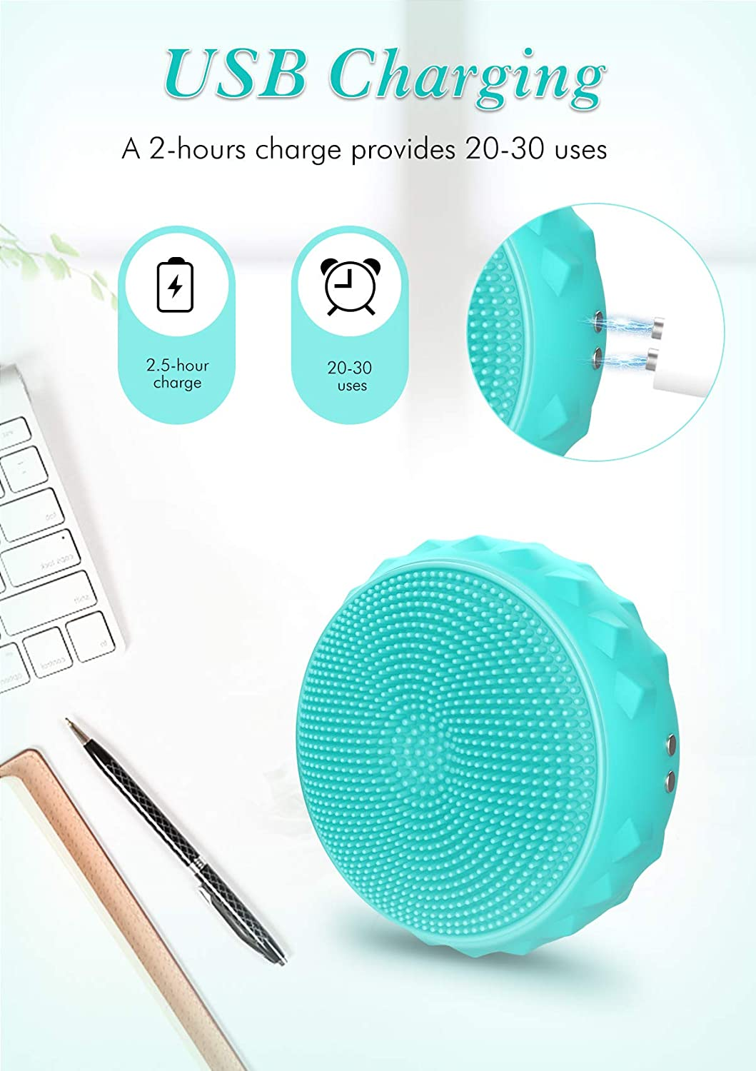 Facial Cleansing Brush with Heating/LED Light Therapy and Sonic Pulsation 3 in 1,Waterproof Silicone Face Brush with 3 Modes for Deep Cleansing, Gentle Exfoliating, Removing Blackhead, Massaging: Beauty