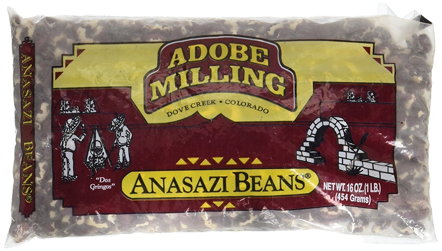 Adobe Milling Dried Anasazi Beans 16oz Bag (Pack of 6) by Adobe Milling