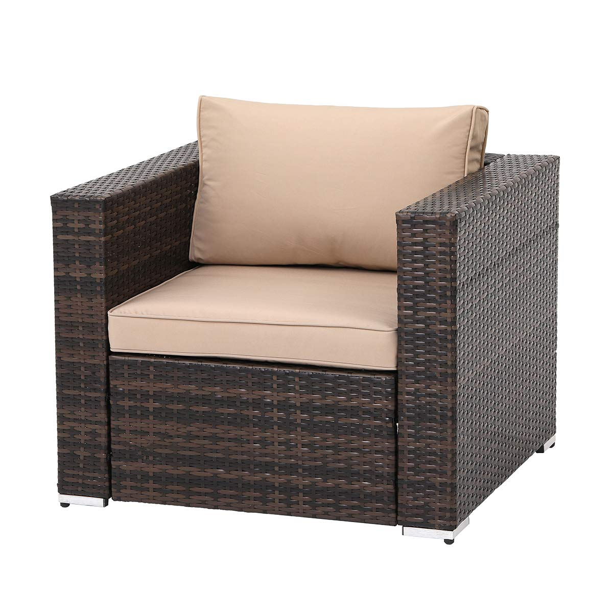 SUNCROWN Outdoor Patio Furniture Brown Checkered Wicker Sofa Chair, Additional Chair with Machine Washable Cushion Covers, Backyard, Pool by SUNCROWN