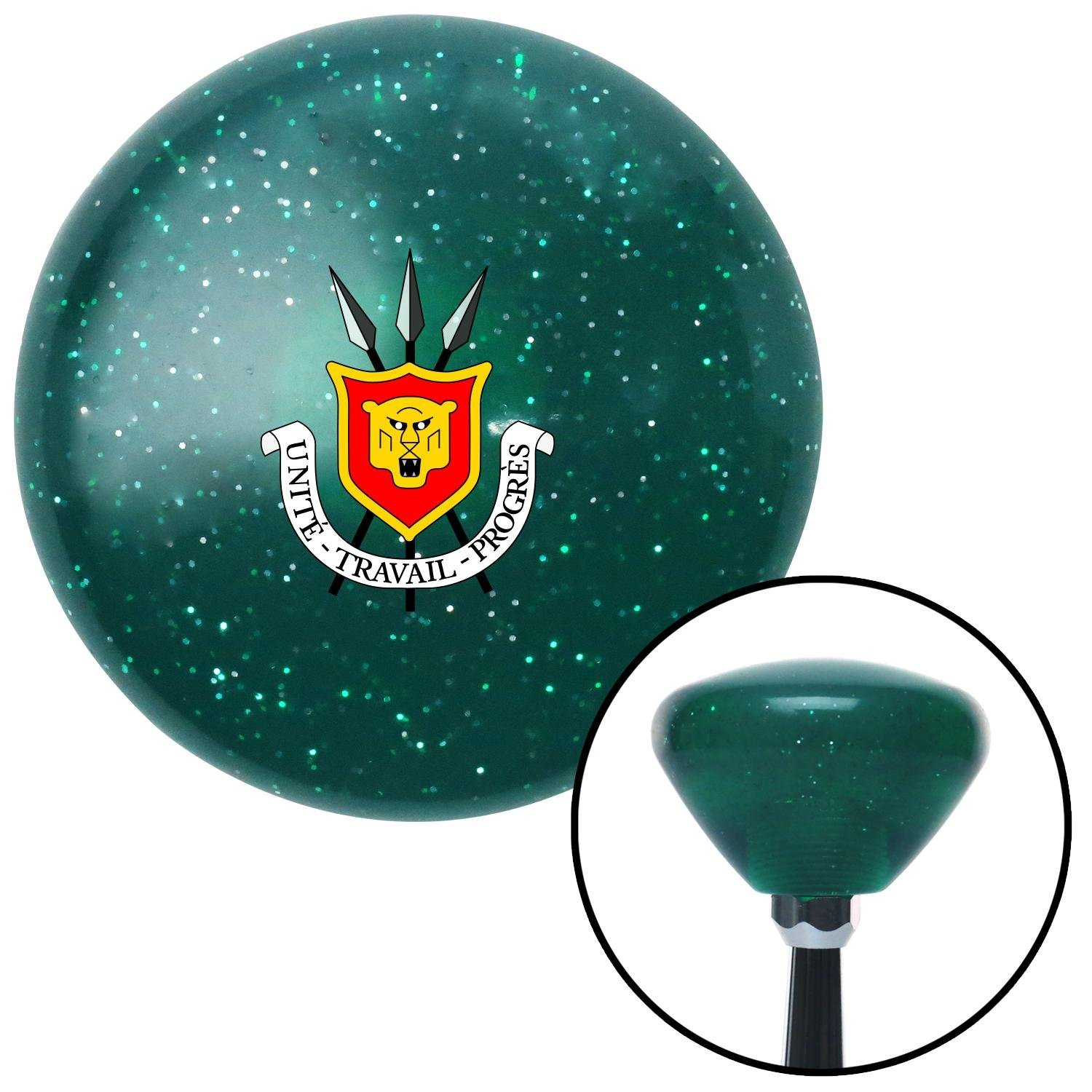 American Shifter 209234 Green Retro Metal Flake Shift Knob with M16 x 1.5 Insert Burundi Coat of Arms