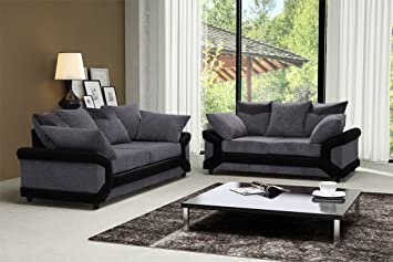 Dino Black Grey Fabric Jumbo Cord Sofa Settee Couch 3 2 Seater