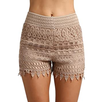 56c483f1a8e459 Damen Sommer Hoch Taillierte Hot Pants Spitzen Shorts Frauen Beach Kurze  Hose