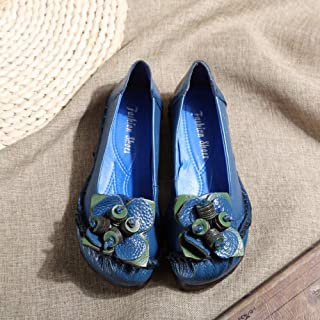 Chaussures Femmes Cuir Soft Télévision Sole Sport Vintage Original Design Rétro Fleurs Main Sandales Talon Bas Slip On Ocean Blue Bout Rond Printemps Été Casual Respirant Chaussures De Marche Co