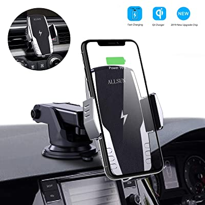 ALLSUN Wireless Car Charger, 10W Qi Fast Charging Auto Clamp Car Mount Windshield Dash & Air Vent Phone Holder for Car for iPhone 11/11 Pro Max/Xs Max/XS/XR/X/8/8+, Samsung Galaxy Note 9/S20/S10/S9/S8: Home Audio & Theater