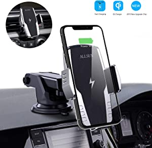 ALLSUN Wireless Car Charger, 10W Qi Fast Charging Auto Clamp Car Mount Windshield Dash & Air Vent Phone Holder for iPhone 11/11 Pro Max/Xs Max/XS/XR/X/8/8+, Samsung Galaxy Note 9/S20/S10/S9/S8, etc