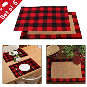 AerWo 6pcs Cotton & Burlap Buffalo Check Placemats, Waterproof Buffalo Plaid Christmas Placemats for Christmas Table Decorations Lumberjack Party Supplies