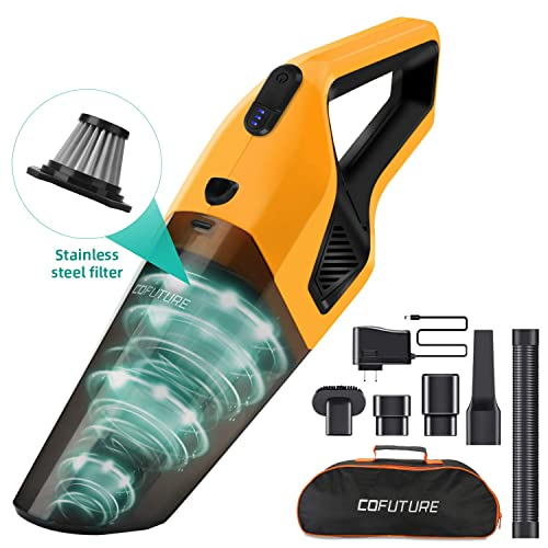 Cofuture-Handheld-Vacuum-Cordless-Cleaner, Hand Vacuum with High Power Motor, Rechargeable Lithium Battery, Washable Stainless Steel Filter for Home and Car Cleaning