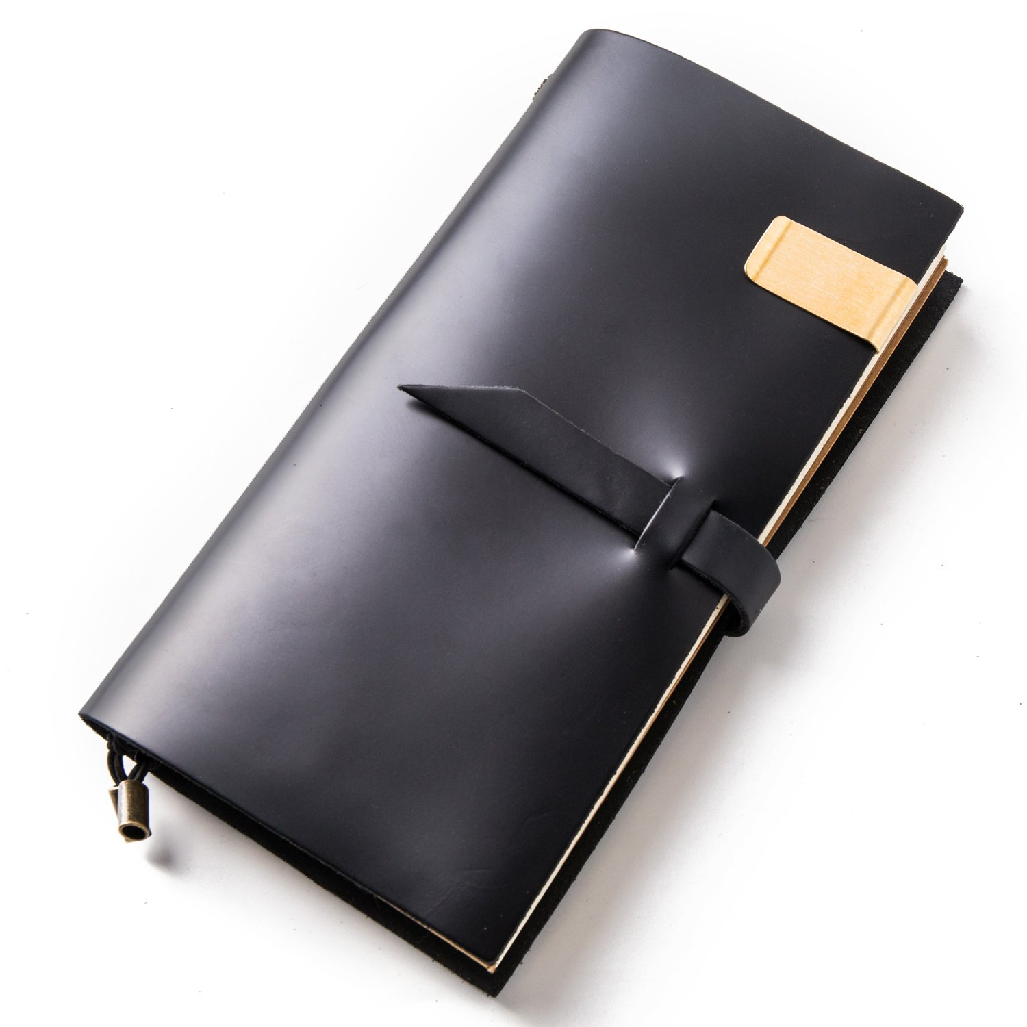 Notebooks and Journals,Leather Travel Diary,Bullet Journals,Refillable Notepad for Men & Women to Write In,Holder Clip Zipper Card Sketching Drawing (Black, Standard size) by IPBEN (Image #1)