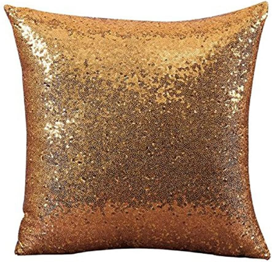 Aremazing Solid Color Glitter Sequins Home Office Decorative Pillowcase Throw Pillow Cushion Cover 16 x 16 Inches (Gold)