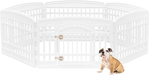 IRIS USA 24 6 Panel Exercise Pet Playpen with Door