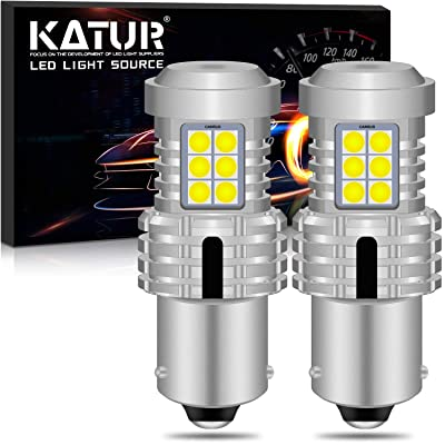 KATUR BAU15S PY21W 7507 LED Bulbs Super Bright 12pcs 3030 & 8pcs 3020 Chips Canbus Error Free Replace for Turn Signal Reverse Brake Tail Stop Parking RV Lights,Xenon White(Pack of 2): Automotive