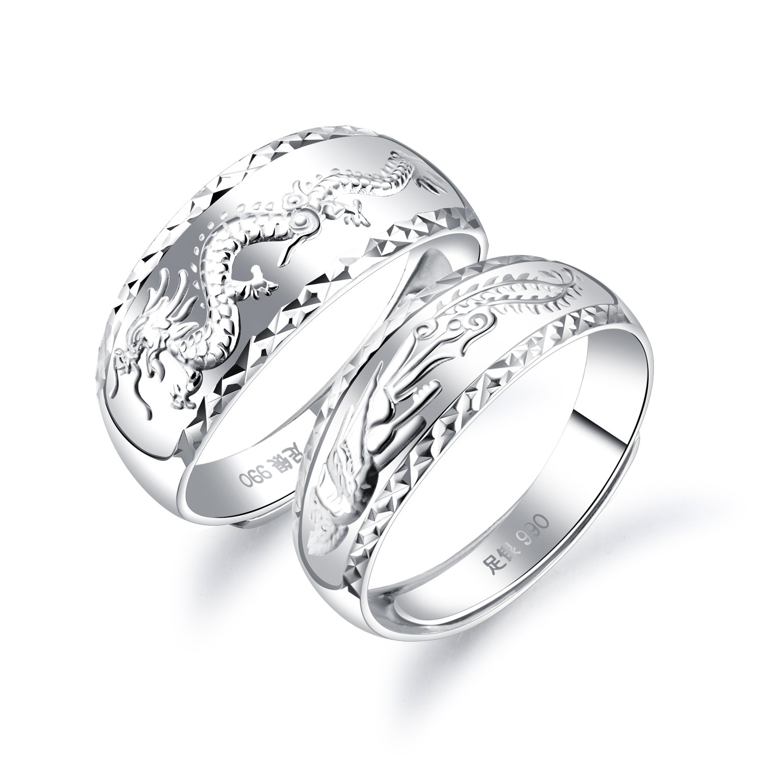 Fate Love 990 Silver Chinese Feature Lucky Dragon Phoenix Carved Couple Ring Wedding Band Set Adjustable Size