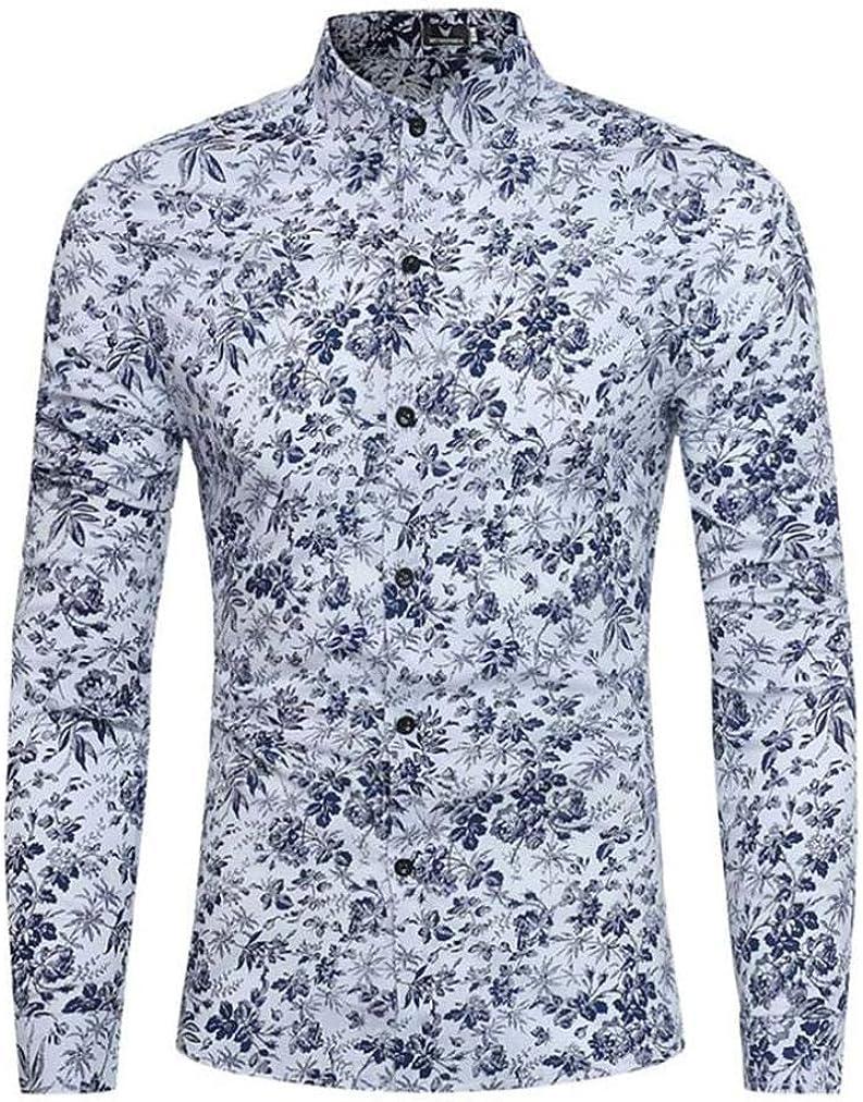 WWricotta LuckyGirls Camisa para Hombre Camisetas de Manga Larga Originales Estampado de Flores Caballero Streetwear Casual Slim Fit Camisas Formales: Amazon.es: Ropa y accesorios