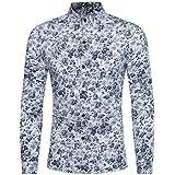 WWricotta LuckyGirls Camisa para Hombre Camisetas de Manga Larga Originales Estampado de Flores Caballero Streetwear Casual Slim Fit Camisas Formales