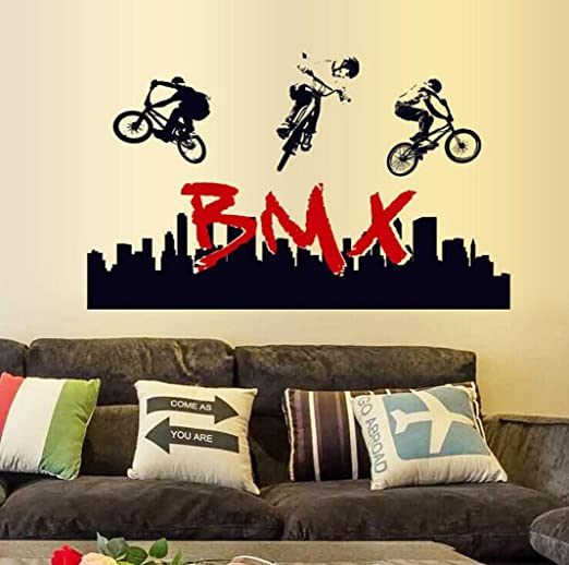 Adhesivo decorativo para pared, chshe Stunt BMX bicicleta silueta ...