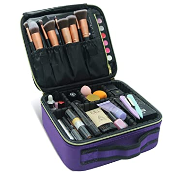 Purple Makeup Bag,Chomeiu Makeup Case Portable Travel Cosmetic Bag Organizer Makeup Brush Carry...