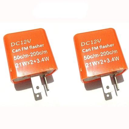 Yibid 2Pcs 12v 2-Pin Speed Adjustable LED Flasher Turn Signal light Electronic Relay fix Hyper Control Flash for Suzuki Motorcycle Honda Kawasaki ...