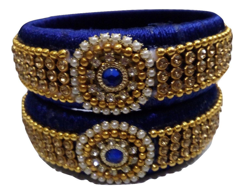 Buy Silk Thread Bangles - Blue with Grand Stone work (2 Bangles ...