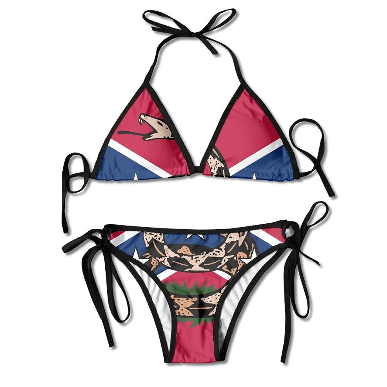 2ca94c28c7 Amazon.com  Don t Tread On Me Bikini Women s Summer Swimwear Triangle Top  Bikinis Swimsuit Sexy 2-Piece Set  Clothing