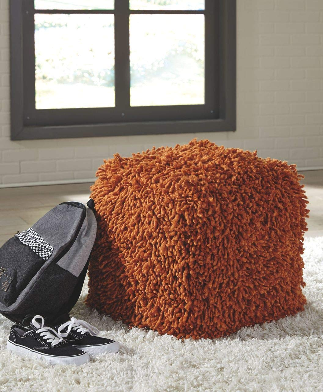 Ashley Furniture Signature Design - Amelia Pouf - Comfortable Ottoman & Footrest - Contemporary - Orange Wool A1000431