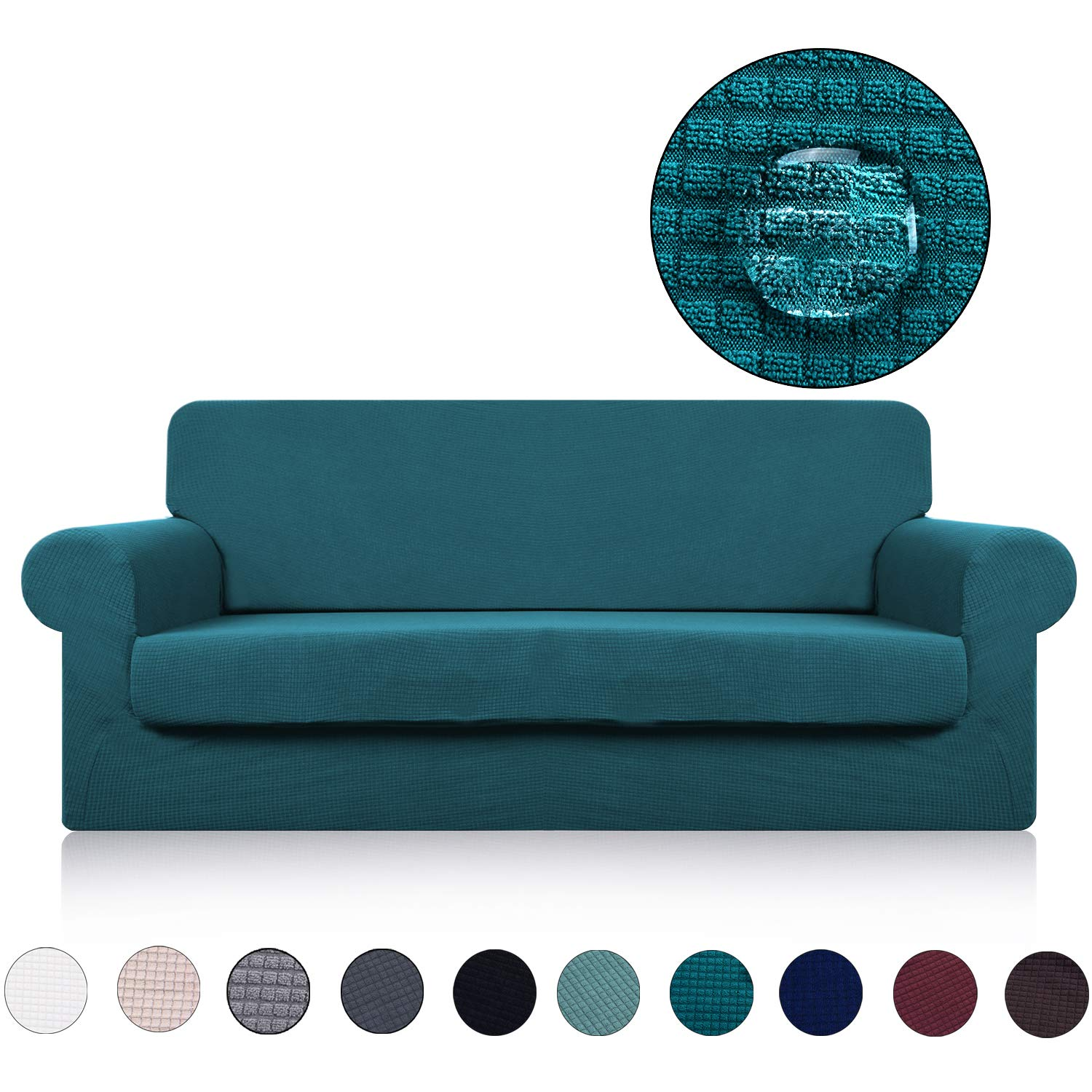 Large Sofa Cover with Separate Seat Cushion Cover(2 Pieces Set) - Water Repellent,Knitted Jacquard,High Stretch - Living Room Couch Slipcover/Protector/Shield for Dog Cat Pets(4 Seater Sofa,Teal)