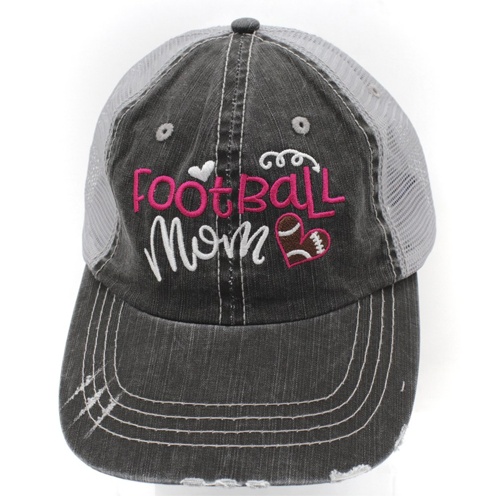 c5a8fbfde Sun Nowa Football Mom Embroidered Trucker Distressed Grey Cap Hat ...