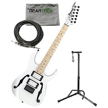 Ibanez pgmm31wh Paul Gilbert firma Mikro guitarra eléctrica (color blanco) W/gamuza de geartree, cable, y soporte: Amazon.es: Instrumentos musicales