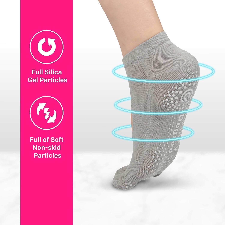 Anti-skid Pilates Barre Bikram Studio Socks with Grips ComfyDegree Non Slip Yoga Socks for Women