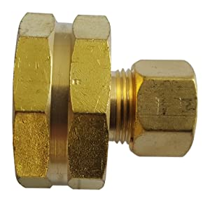 "1 PIECE XFITTING 3/8"" OD COMPRESSION X 3/4"" FHT GARDEN HOSE THREADED FEMALE ADAPTER, LEAD FREE BRASS"