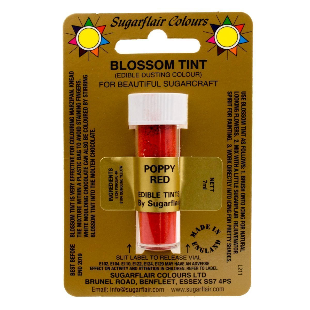 Sugarcraft Sugarflair Colour Blossom Tint Powder Dust Poppy Red 7ml