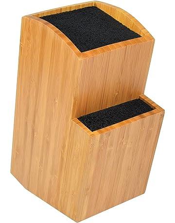 ETTU - Soporte Universal para Cuchillos sin Ranuras - 2 Bloques - Madera de Bambú -