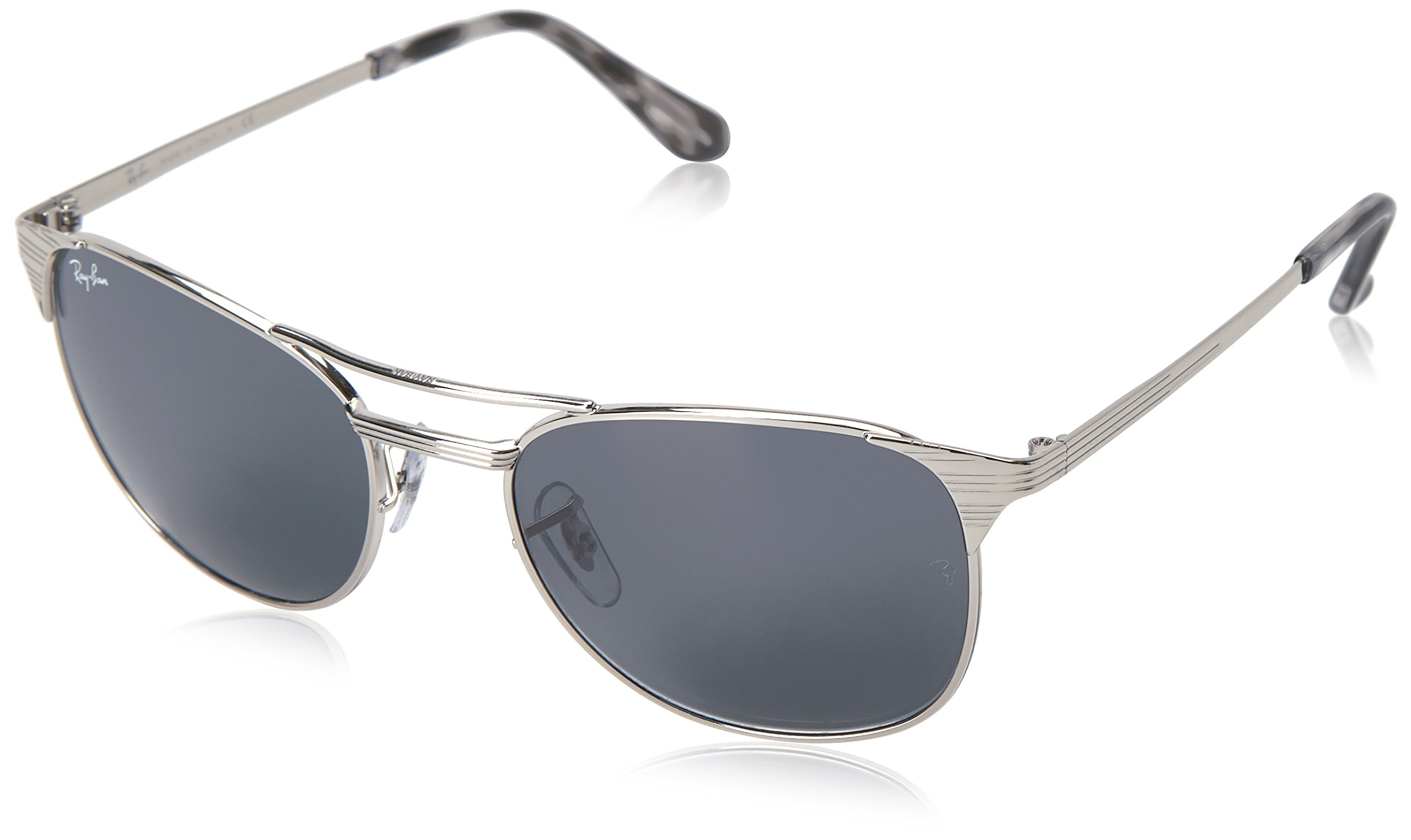 Ray-Ban Men's Metal Man Square Sunglasses, Shiny Silver, 55 mm