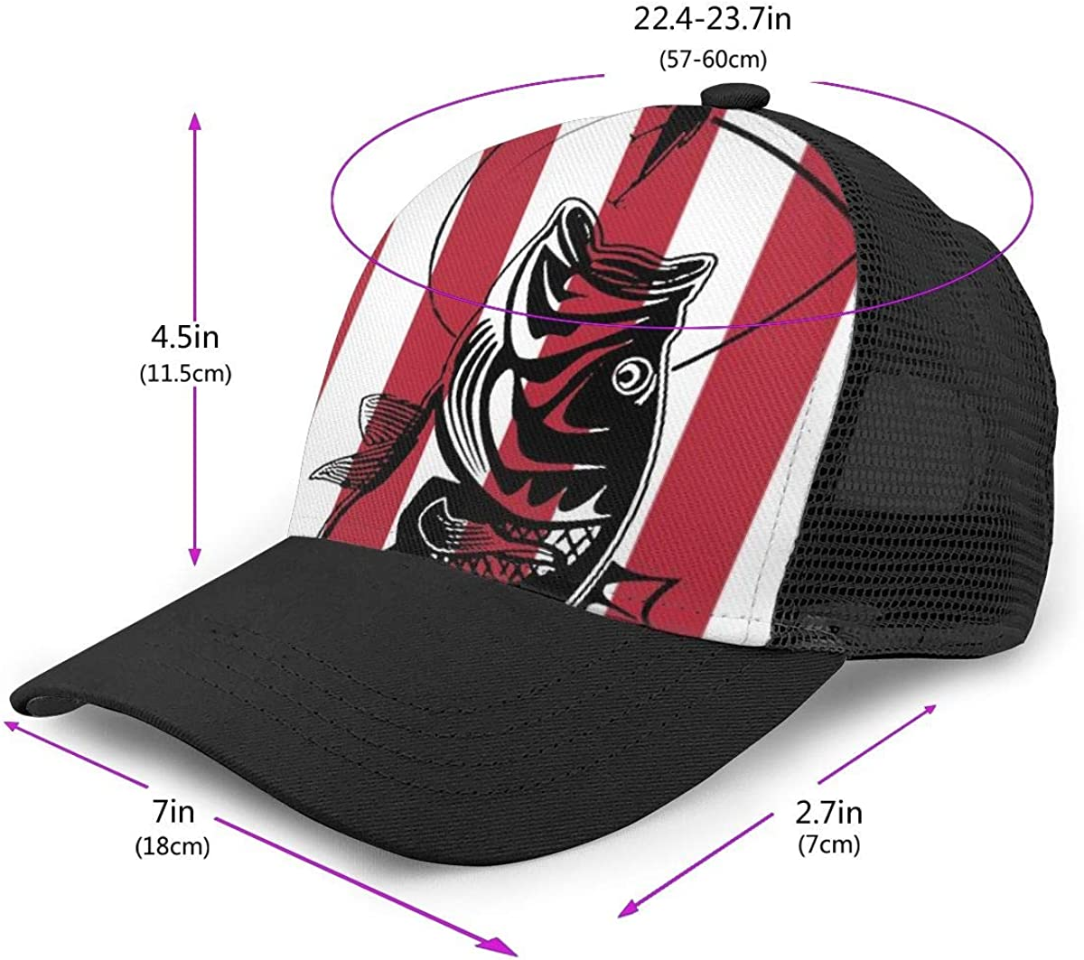 Classic Trucker Hat for Unisex Mens and Womens Fishing and The American Flag Flat Baseball Cap