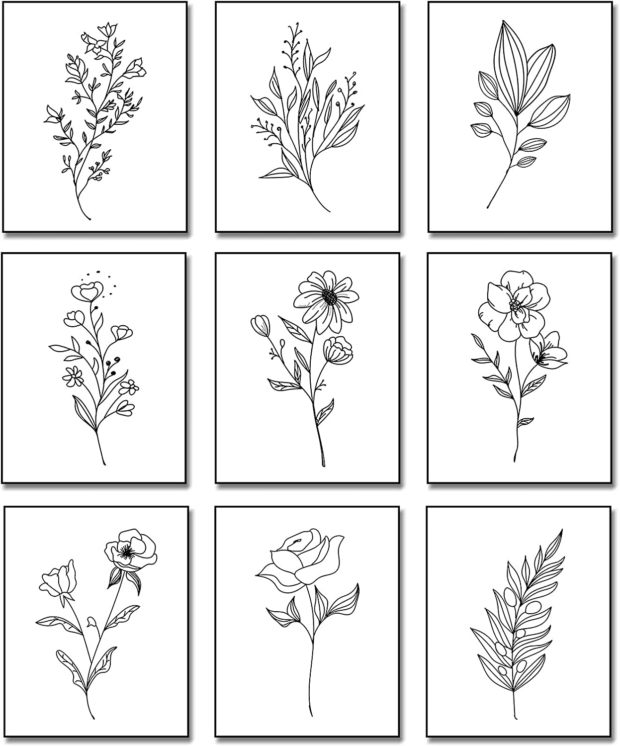 Outus 9 Pieces Botanical Plant Wall Art, Black White Plants Abstract Flowers Minimalist Flowers Wall Decor for Bathroom Kitchen Wall Decor Pictures, Unframed