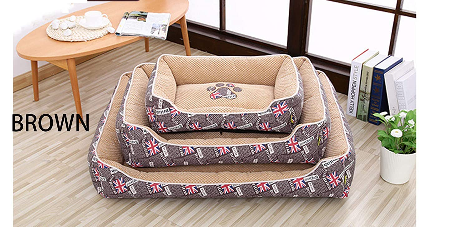 Brown L Brown L Dog Kennel Pet Nest Oxford Cloth Four Seasons Universal Three colors Optional Rectangular