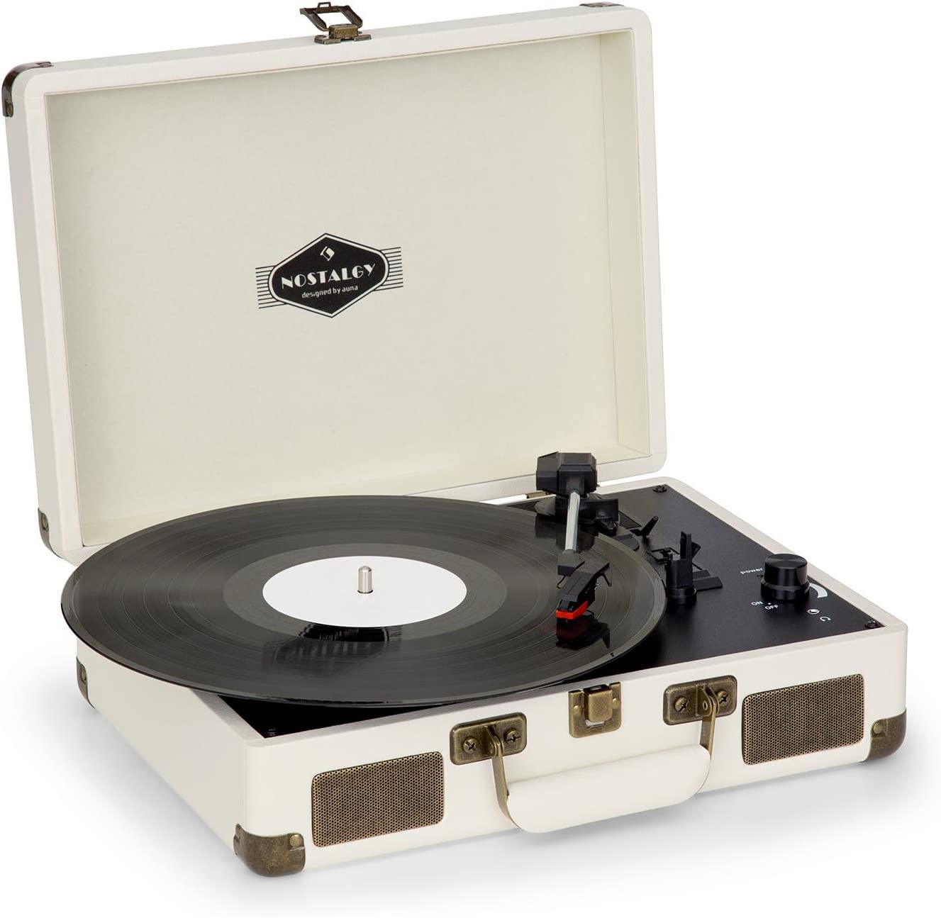 auna Peggy Sue Retro Record Player, Turntable with Built-in Stereo Speakers, Belt-Drive, USB-Port (B), Vinyl LP, Plays 33, 45 and 78 RPM Records, Digitization, Plug & Play, Portable Suitcase, Creme