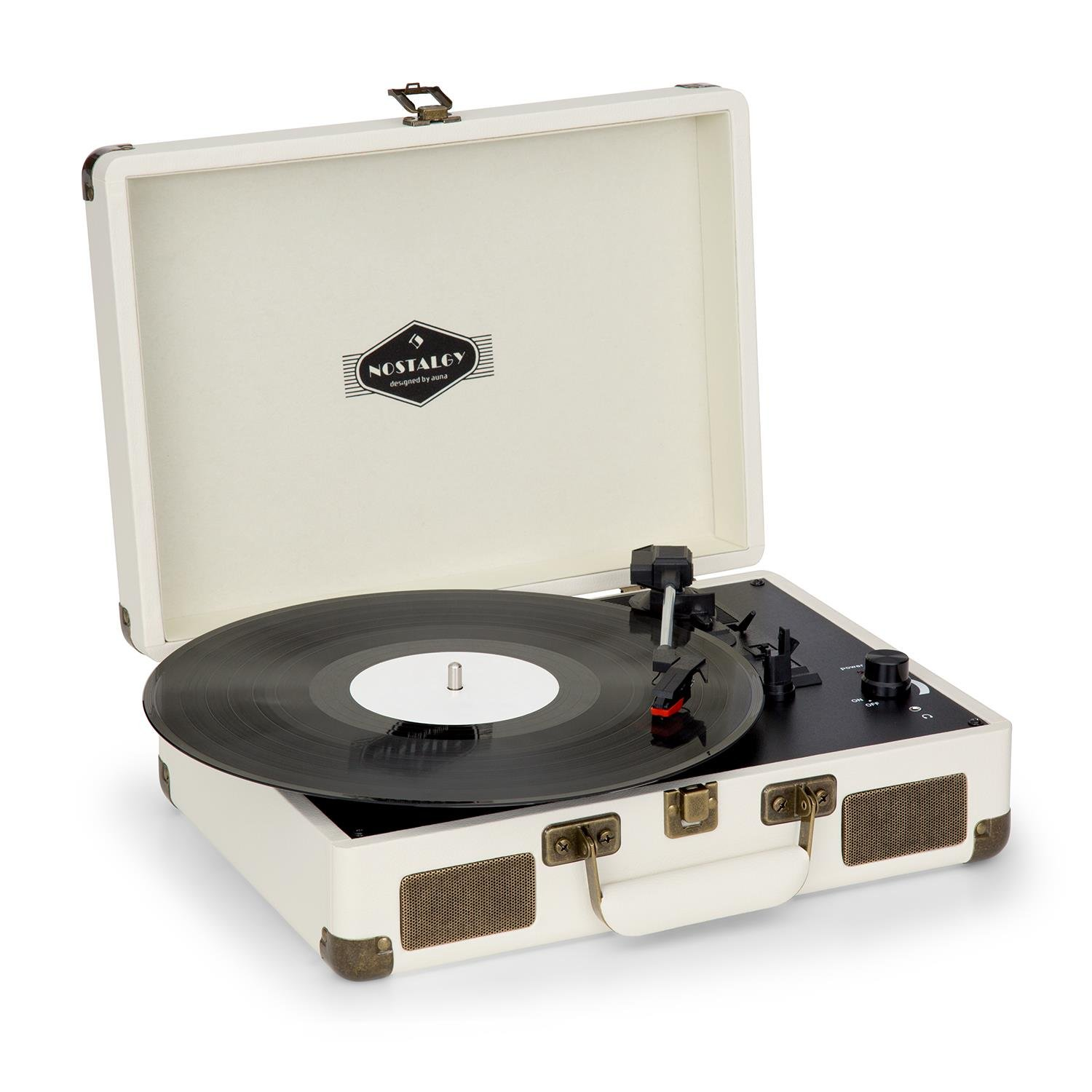 auna Peggy Sue • Turntable for Vinyl Records • Record Player with Speakers • Retro Design • USB-Port • Digitization • Plug & Play • Portable Suitcase • Creme