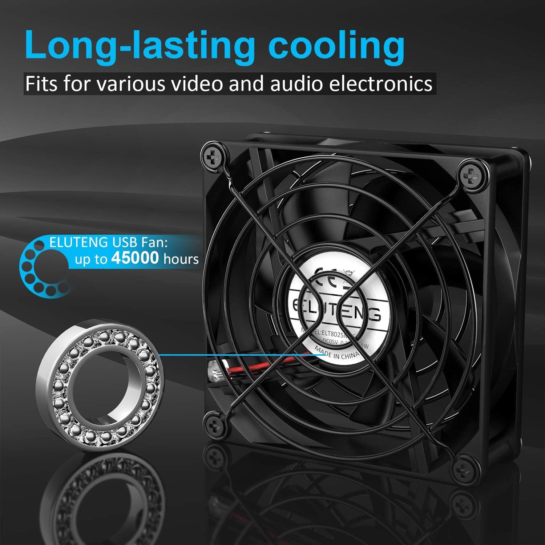 ELUTENG Ventilateur 80mm USB Silencieux Fan 5v Trois Vitesse Réglable 3 Vitesses Ventilateur 80 mm de Rafraichisseur Mini Ventilateurs PC USB 8cm