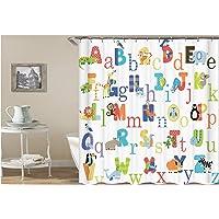 AMDXD Bathroom Curtain for Shower English Alphabet Shower Curtain Colorful Bath Curtains90x180CM