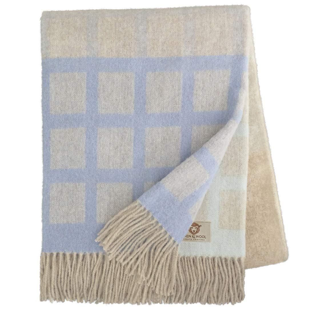 Linen & Cotton Decke Wolldecke Merino Wohndecke Kuscheldecke Kariert THEA - 100% Weicher Merinowolle, Beige Blau Natur Türkis (140 x 200 cm), Sofadecke Tagesdecke Überwurf Blanket Schurwolle